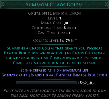 Path of Exile - Summon Chaos Golem skill